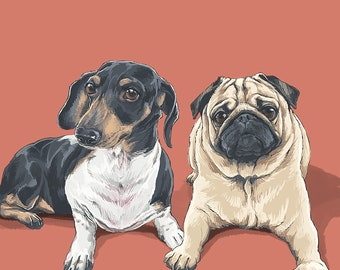 Custom portrait, Personalized, Pet portrait, Portrait from photo, gift for couples, quirky pet portrait, couple portraits, portrait