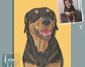 Custom dog portrait , Pet portrait , Custom portrait from photo , Custom drawing , Animals , Gift for