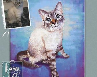 Cat portrait custom pet loss gift custom pet art, pet illustration, pet gift, pet custom drawing, portrait pet, pet lover, watercolor pet