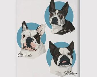 Cartoon Pet Portrait, pet portrait print, custom pet portrait, custom pet print, custom pet poster, dog poster, cat poster, pet poster