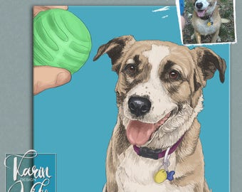 Pet portrait. Detailed Pet Portraits. Custom portrait from photo. Custom drawing. Dog. Animals. Gift for.