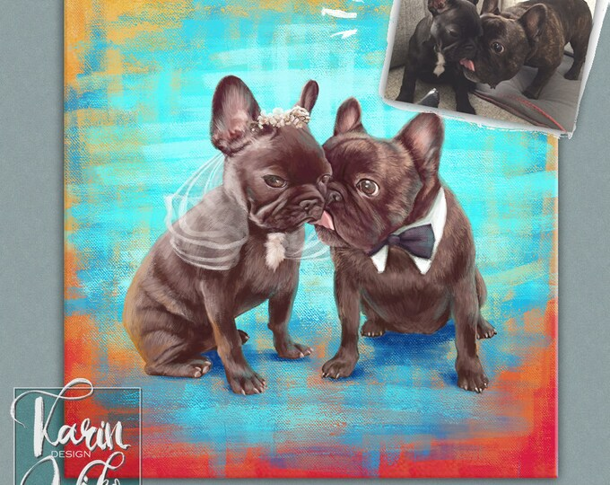 Featured listing image: Custom pet portrait Boston Terrier Painting | Portrait from your photos | Custom portrait