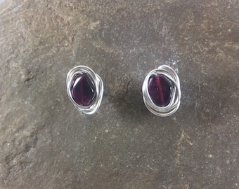 Garnet Earrings, Garnet Stud Earrings, Garnet Studs, Silver Garnet Earrings, Gemstone Post Earrings, January Birth Stone, Gift for Her, Red