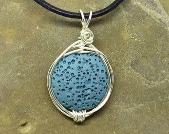 Lava Stone Necklace, Lava Minimalist Necklace, Oil Diffusing Necklace, Lava Stone Diffuser Necklace, Blue Necklace, Aromatherapy Necklace