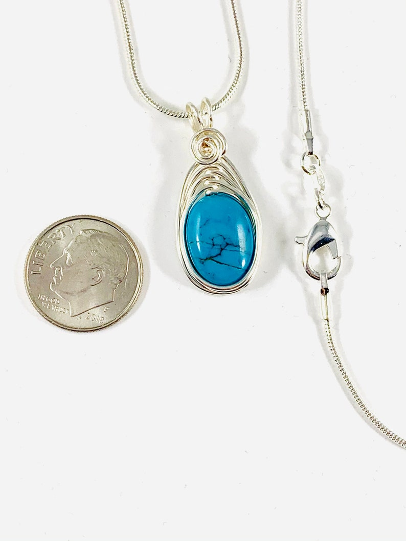 December Birthstone Silver Turquoise Pendant with Chain Genuine Turquoise Necklace Natural Gemstone Jewelry for Women