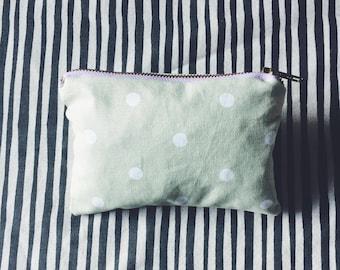 Small Green Polka Dot Makeup Bag