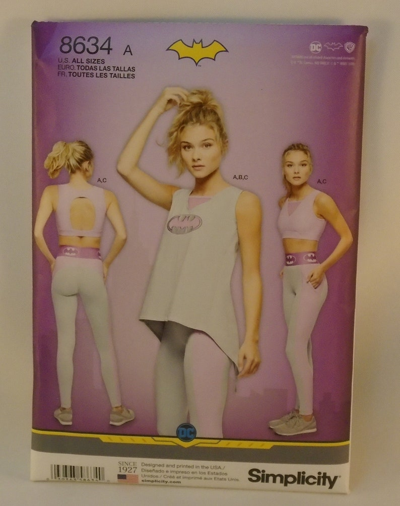bb5b0c185 Simplicity Pattern 8634 Misses Batgirl Sports Bra Sizes