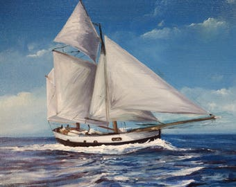 Oil painting sailing painting sailboat sea oil painting