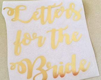gold foil letters for the bride box decal wedding card box decals letter for the bride groom decal