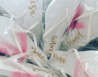 b1125b7f37a1 White Personalized Bridesmaid Flip Flop Sets