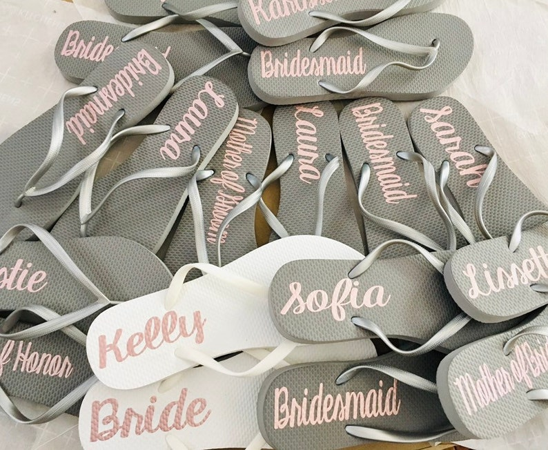 7076e461ab07de Bridesmaid Flip Flops Personalized Silver Wedding Flip Flops