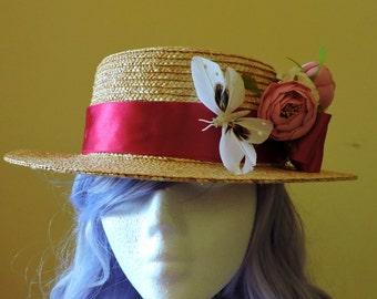 Boater Hat Romantic Lolita Vintage Hat Floral Straw Boater Floral summer straw hat Edwardian Straw Boater Hat Wedding Fascinator Hat