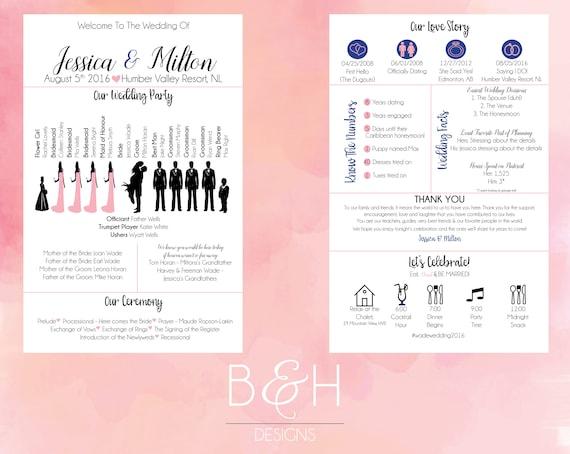 printable custom info graphic wedding program digital download etsy