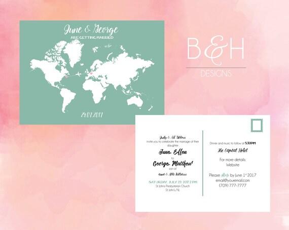 World Map Wedding Invitations.Mint World Map Wedding Invitation Travel Theme Wedding Map Etsy
