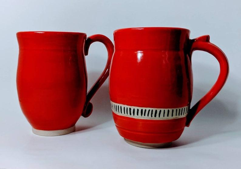 Swirly Handle OrangeRed Mug Mug 13 oz Mug Orange Mug