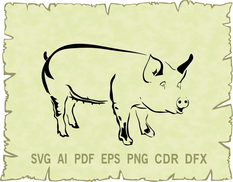 Pig clipart Pig vector glowforge Farm SVG Ai Svg Cute pig svg Pdf Png Dxf CDR SVG files for Cricut Pig svg Eps