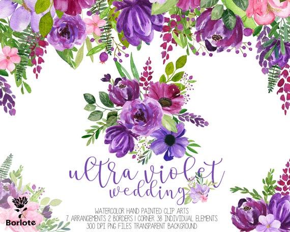 Watercolor purple floral cliparts Ultra Violet watercolor ...