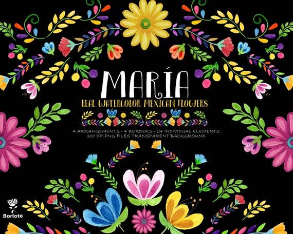 Mexican Watercolor Flower Mexican Watercolor Floral Clipart Etsy
