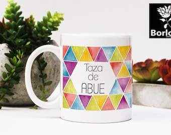 Taza de Abue, Mother's Day Coffee mug quote Clip art, watercolor triangle, hand painted, decor print, Mother's Day gifts