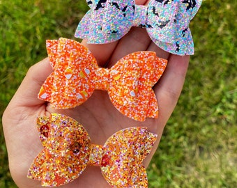 Chunky Glitter Piece Bows - Fall and Halloween Medium Glitter Bows on Clip, Nylon, or Elastic - Bat Bow - Leaf Bow - Candy Corn Bow