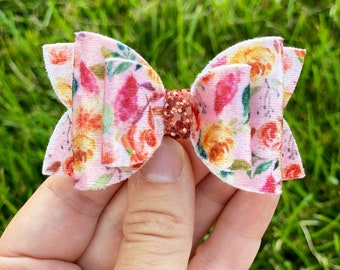 Blush Velvet Fall Blooms Bow - Medium Fall Bow on Clip, Nylon, or Elastic - Floral Bows - Photo Props