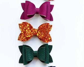 Fall Basics - Faux Leather or Glitter Fall Bows - Photo Props