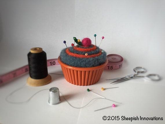 Felt Pincushion Cupcake Pincushion Orange & Blue Pincushion | Etsy