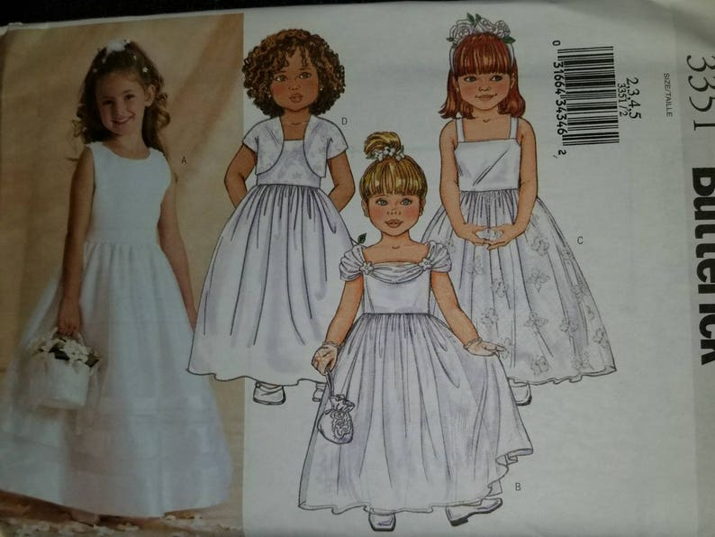 56debf56f5859 Free Shipping Pattern 3351 by Butterick Patterns Child Special Occasion  Flower Girl Dress & Jacket OOP New Factory Folded Size 2,3,4,5