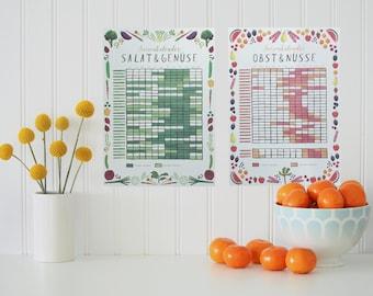 seasonal calendar (Set of 2) - eco-friendly