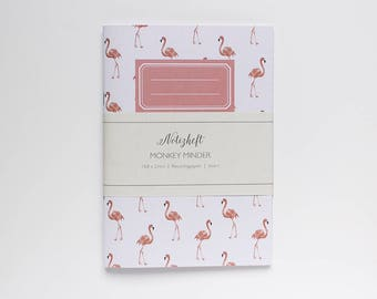 Notebook eco, A5, with flamingo pattern - jotter flamingo - notebook ruled - recycled paper