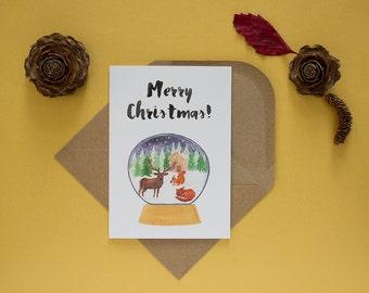 Christmas card - greeting card with envelope - seasons greetings