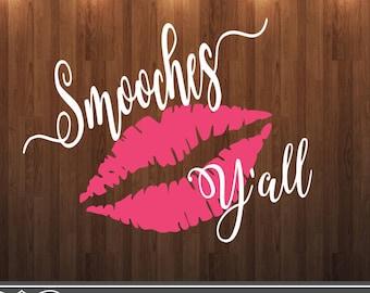 Smooches y'all svg, valentine svg, kiss svg file, tshirt mockup svg, onesie mockup svg cut file