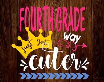 4th grade svg file, fourth grade just got way cuter, teacher svg, mockup svg, teacher's appreciation svg, studio, design space, school svg