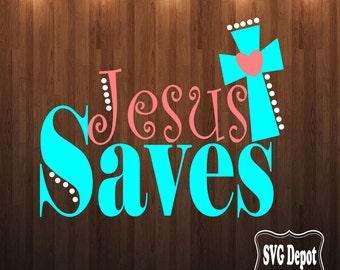 Jesus Saves svg, Cross svg, 1 svg file, fall svg, fall leaves svg, monogram svg, svgcut file