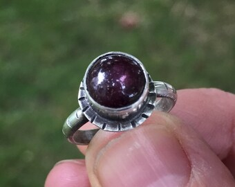 Garnet Ring, Size 5, Sterling Silver, January Birthstone