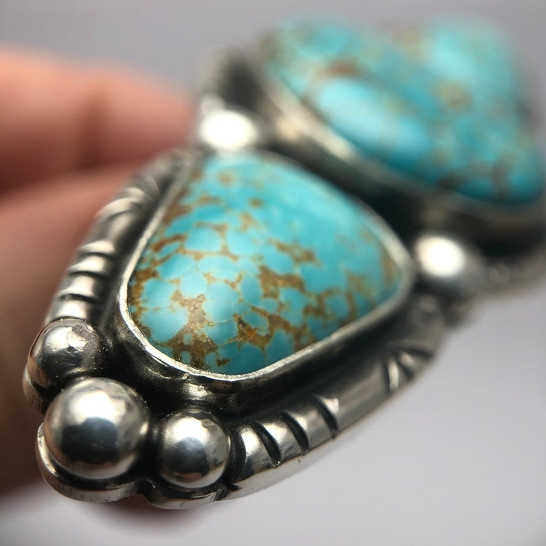 Southwestern Style Reserved for Carly Sterling Silver SOLD Size 9.25 Wide Band Balance due on Big Blue Turquoise Ring