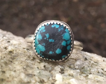 Turquoise Ring, Size 8, Sterling Silver, December Birthstone, Boho, Hippie, round