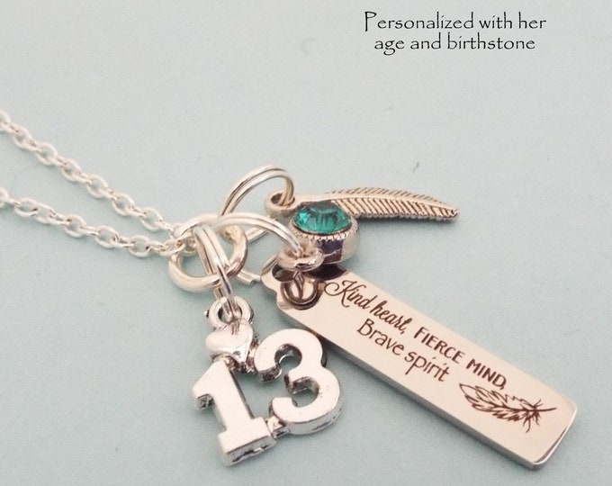 13th Birthday Personalized Necklace, Custom Jewelry, Birthstone Charm Necklace, Daughter Turning 13, Customized Gift for Her, Niece Gift