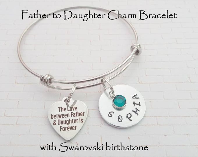 Daughter Gift, Father to Daughter, Birthstone Bracelet, Custom Jewelry, Handmade Jewelry, Gift for Her, Personalized Gift, Daughter Birthday