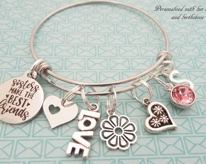 Sister Gift Charm Bracelet, Sister Christmas Gift, Sister Birthday, Personalized Gift, Gift for Her, Custom Jewelry, Silver Bracelet