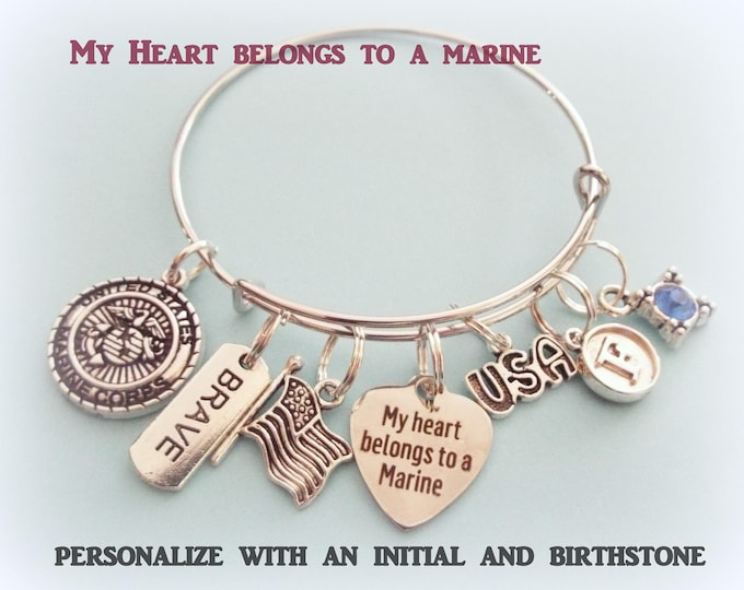 Marine Charm Bracelet, Marine Wife Gift, Personalized Gift for Marine Wife or Mother, Patriotic Jewelry. Personalized Jewelry, Gift for Her
