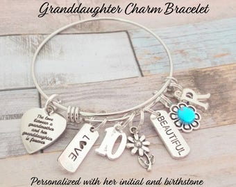 Granddaughter Gift Birthday For Grandmother To Charm Bracelet Personalized Her