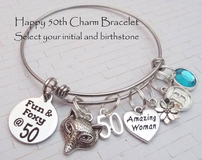 50th Birthday Gift for Women, Gift for 50th Birthday, Woman's 50th Birthday Charm Bracelet, Friends 50th Birthday Gift, Custom Gift Woman