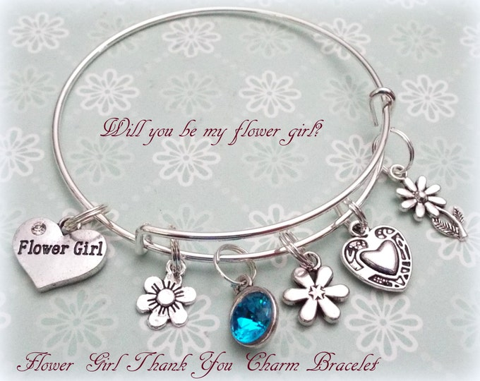Flower Girl Gift, Will You Be My Flower Girl, Gift for Flower Girl, Personalized Flower Girl Gift, Flower Girl Charm Bracelet, Bridesmaid