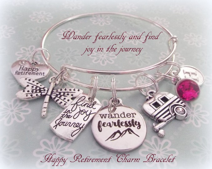 Women's Retirement Gift, Gift for Retiree, Birthstone Bracelet, Personalized Gift Retiree, Personalized Jewelry, Silver Bracelet, Boss Gift