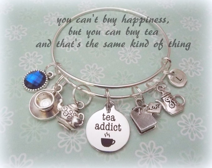 Tea Lover Bracelet, Gift for a Tea Lover, Gift for Book Lover, Tea Drinker Charm Bracelet, Personalized Jewelry Gift, Birthstone Gift