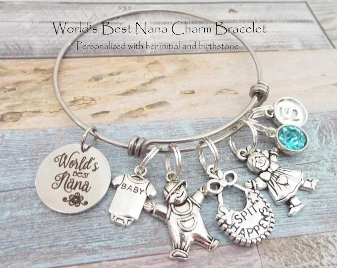 World's Greatest Nana Charm Bracelet, Gift for Nana, Grandmother Gift, Nana Gift Idea, Personalized Gift, Custom Jewelry, Gift for Her
