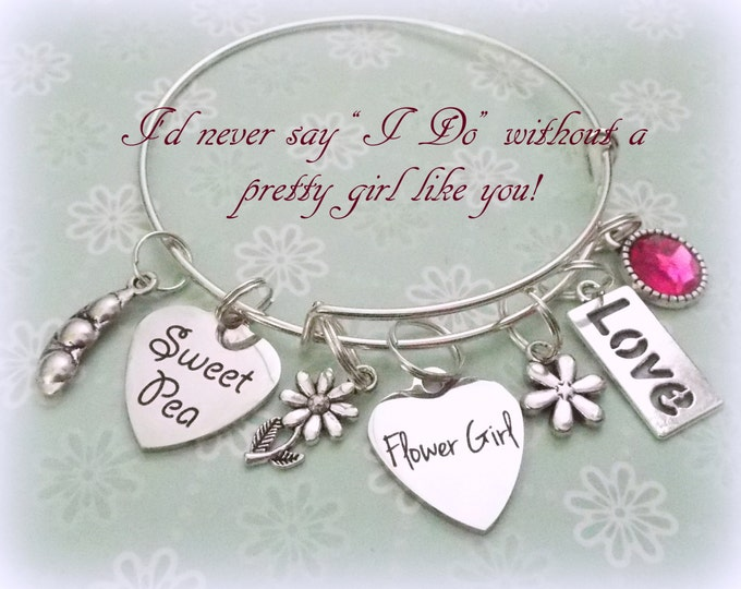Flower Girl Gift, Flower Girl Charm Bracelet, Gift for Flower Girl, Wedding Gift for Flower Girl, Wedding Jewelry, Bridal Gift, Wedding Gift