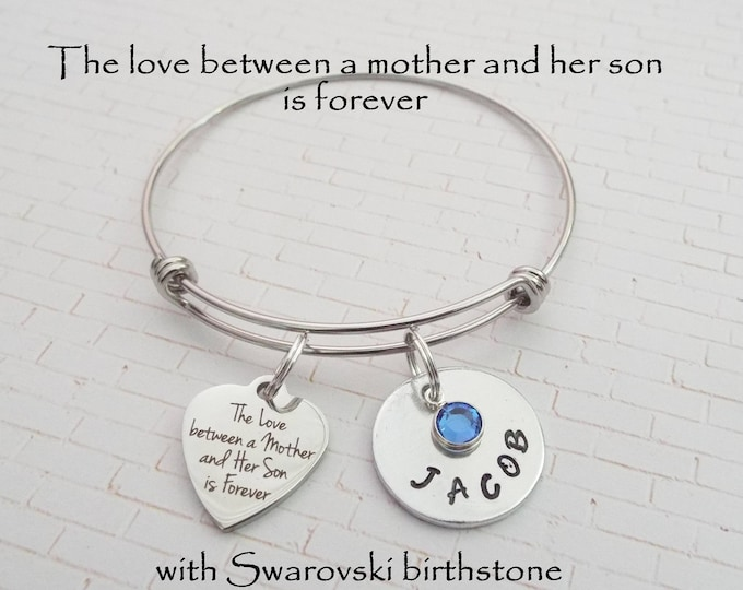 Mother Gift From Son, Gift for Mother, Mother Charm Bracelet, Gift to Mom From Son, Custom Gift,  Jewelry for Mother, Mother, Mother Jewelry