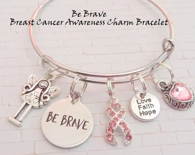 Breast Cancer Survivor Bracelet, Gift for Breast Cancer Survivor, Breast Cancer Awareness Bracelet, Pink Ribbon Cancer Bracelet